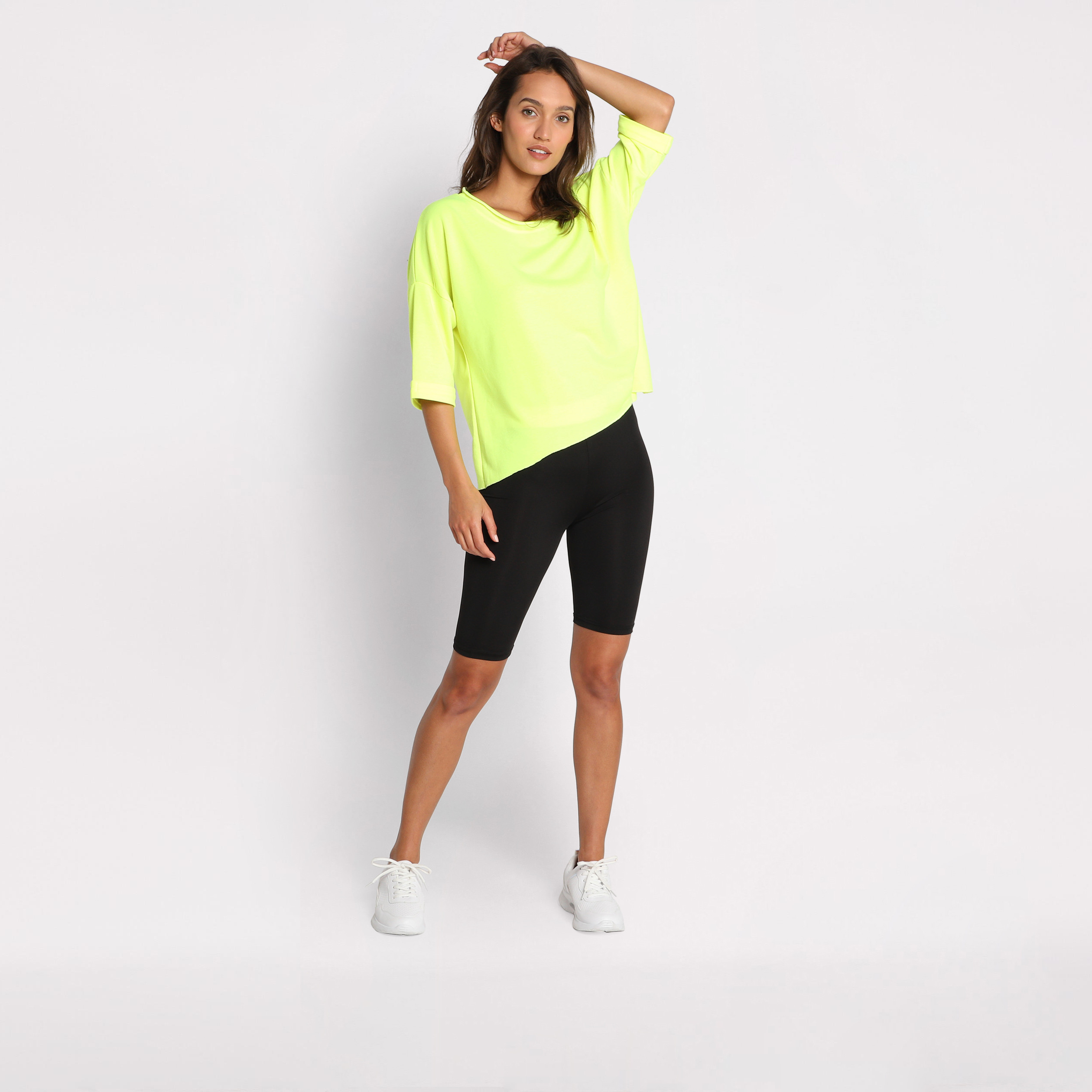 eb21bc346aec0 Short taille haute cycliste jaune femme