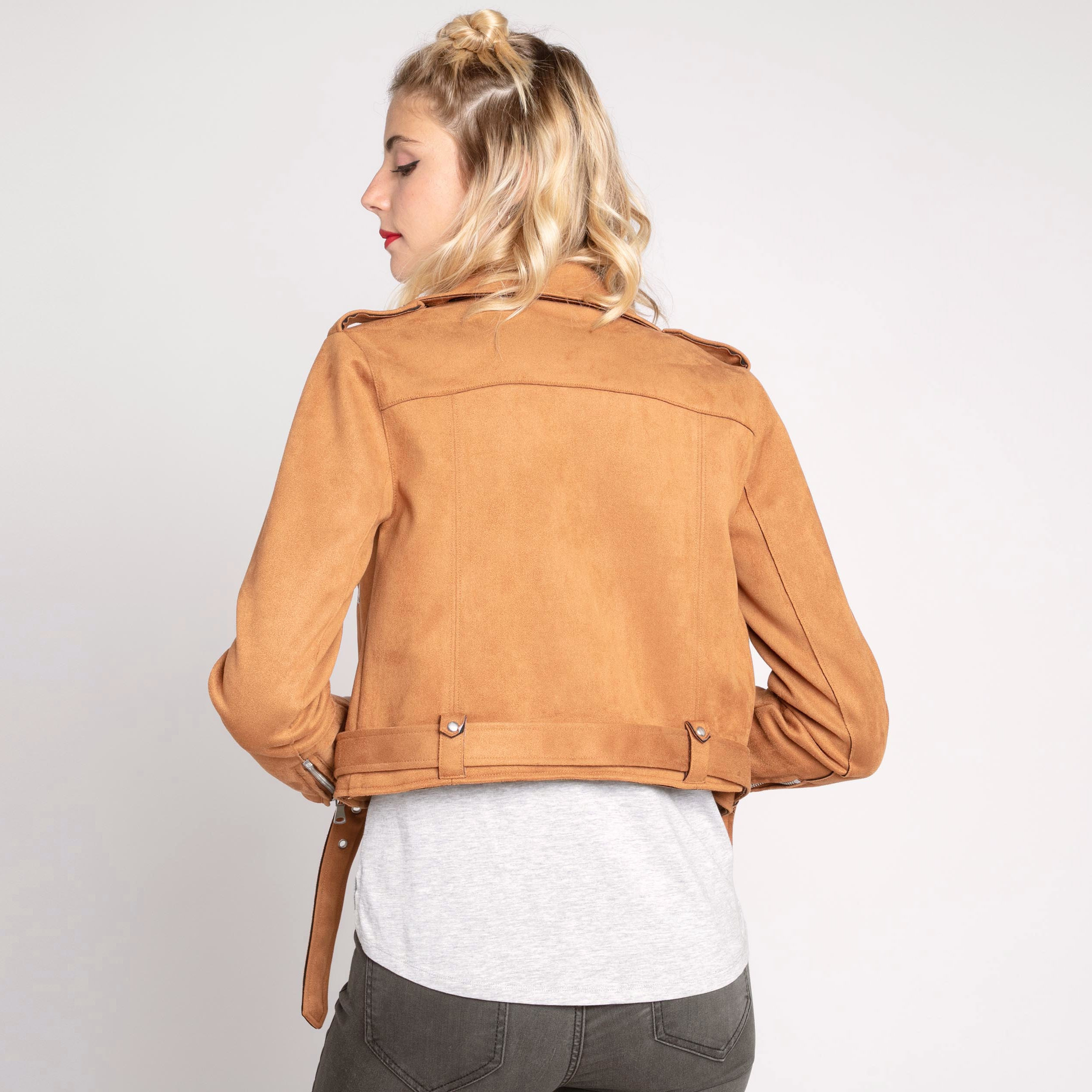 Veste Biker Orange Esprit Suédine Femme Foncé WYEH9ID2