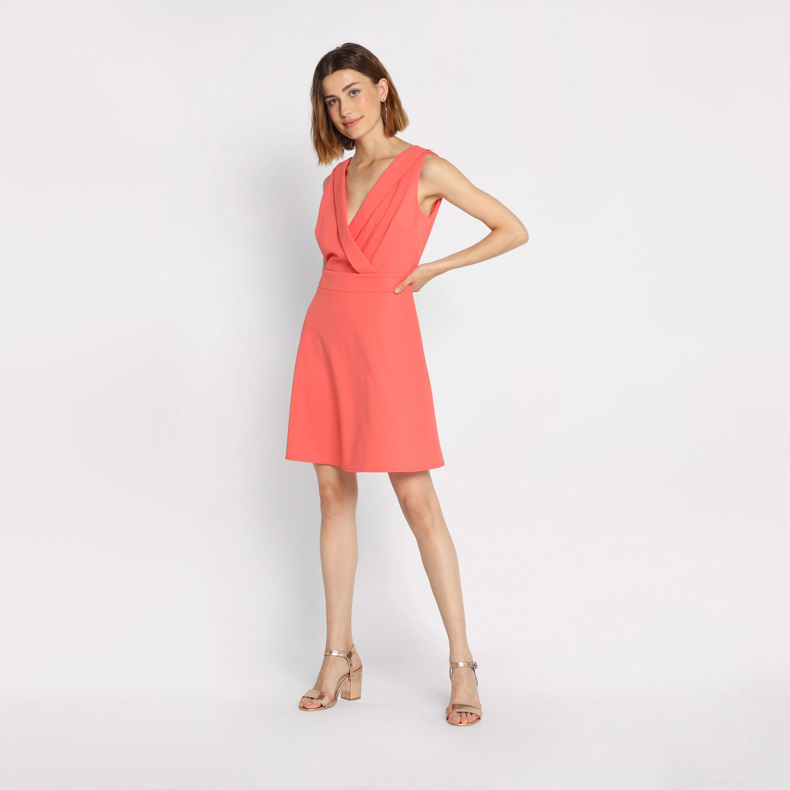 best shoes best authentic best authentic Robe cache-coeur sans manches rose corail femme