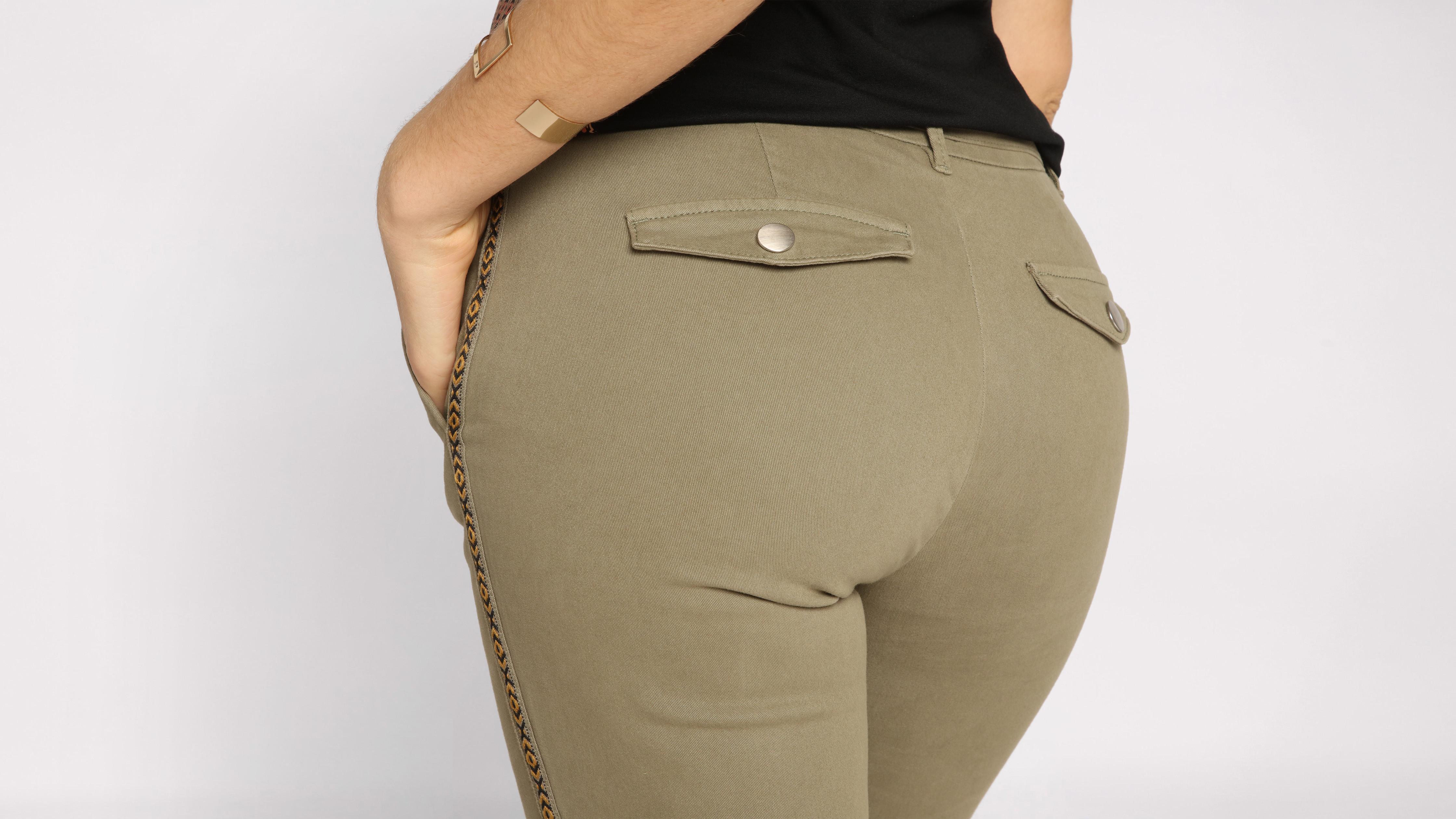 Poches Vert Kaki Chino Femme 4 Pantalon Slim fy6gb7