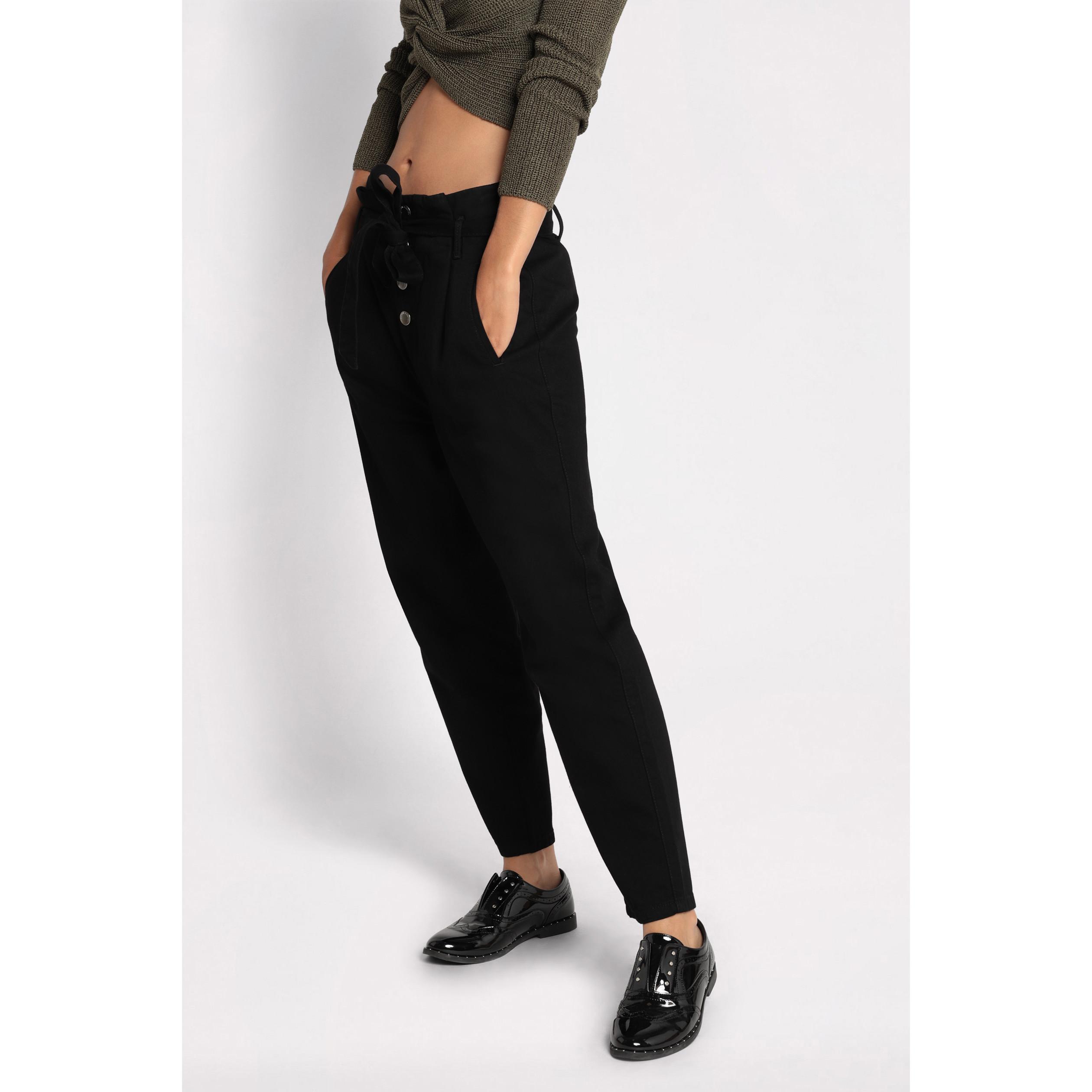 Femme Paperbag Noir Boutonné Pantalon Denim nO0wPk